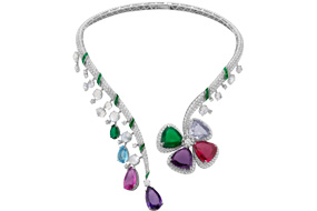 Bvlgari Fiore Di Bvlgari Necklace crafted with a multicoloured flower and vivid petals. 1 emerald, 1 rubellite, 2 acquamarines, 2 amethysts, 1 pink tourmaline, 1 emerald
