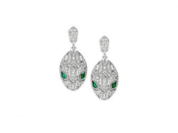 Bvlgari Serpenti Earrings white gold set with pavé diamonds and two emerald eyes