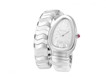 Bvlgari Serpenti Spiga single spiral watch with stainless steel and white ceramic bracelet