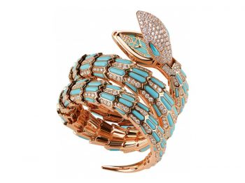 Bvlgari Serpenti Secret Watch with rose gold brilliant cut diamonds and turquoise eyes