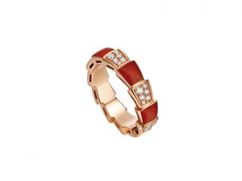 Bvlgari Serpenti Viper ring rose gold set with carnelian elements and pavé diamonds