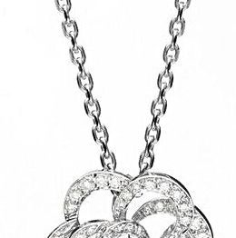 Chanel Fil de Camelia Pendant diamonds white gold