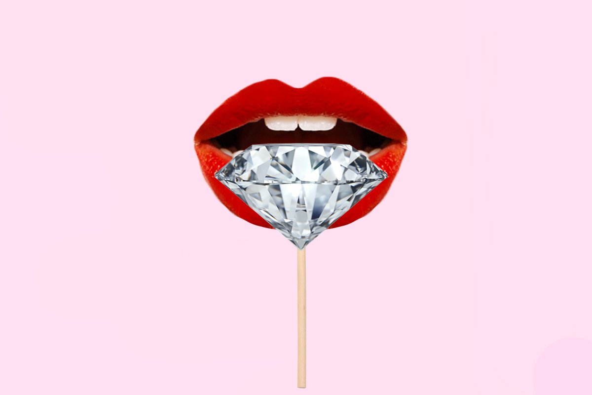 Diamonds Lollipop mouth red lipstick