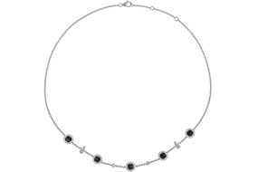 Laura Sayan Chouchan Choker set with five onyx and grey diamonds on white gold