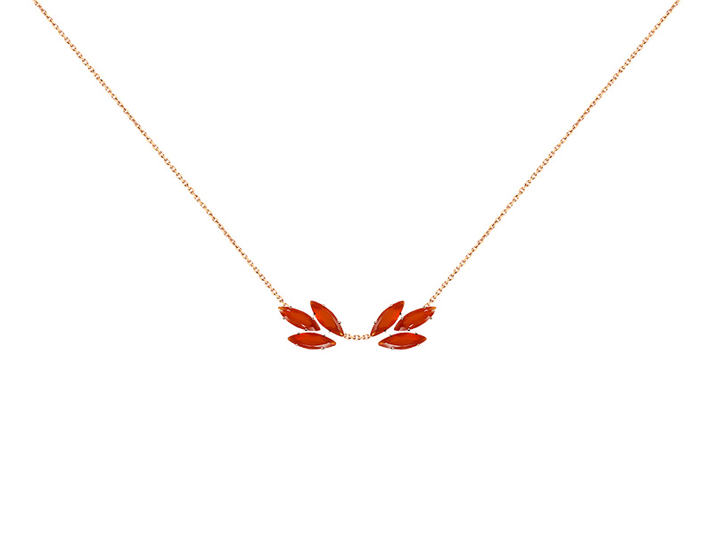Layone Carnelian Necklace mounted on rose gold