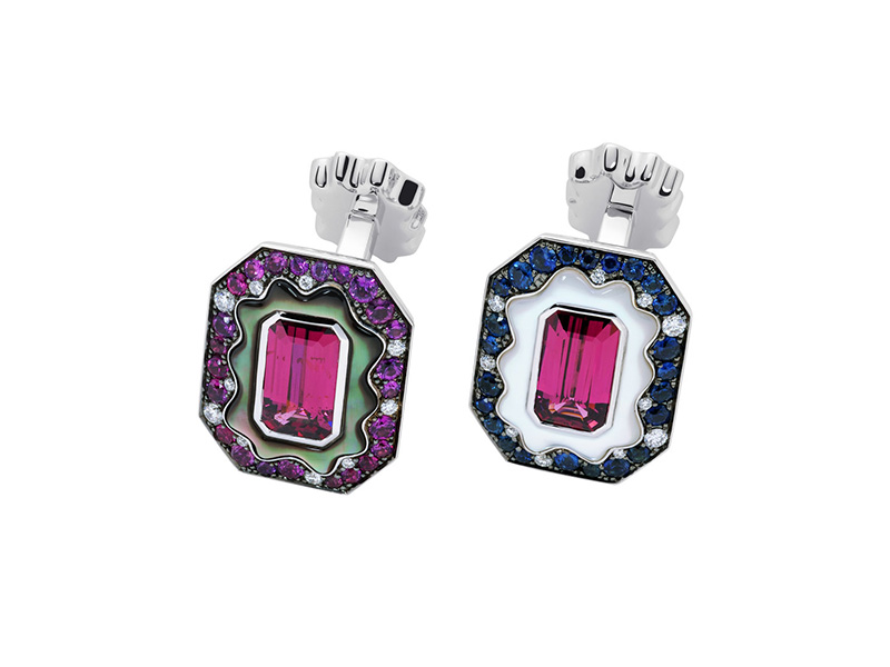 Marcel 1907 Cufflinks purple garnet sapphires diamonds Mother-of-pearl