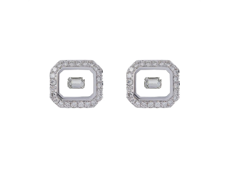 Nikos Koulis univers Line Earrings White gold with white diamonds