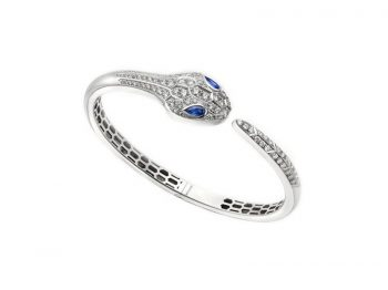 Serpenti bangle bracelet white gold set white blue sapphire eyes and pavé diamonds