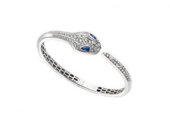 Serpenti bangle bracelet white gold set white blue sapphire eyes and pavé diamonds