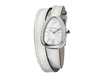 Bvlgari Serpenti Watch with stainless steel case set with diamonds white mother-of-pearl dial and interchangeable double spiral braelet in white karung leather