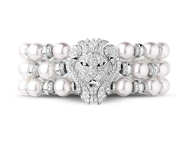 Sous le Signe du Lion Bracelet White Gold Diamonds And one Cultured Pearl