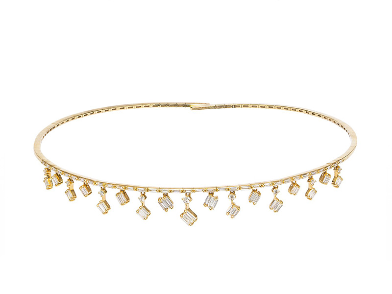 Suzanne Kalan Cascade Fireworks Charm Choker 18k yellow gold white diamonds