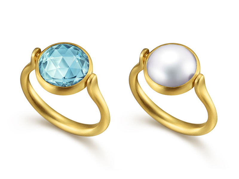 Tasaki by MHT Far side of the moon ring mounted on yellow gold set freshwater pearl and aquamarine