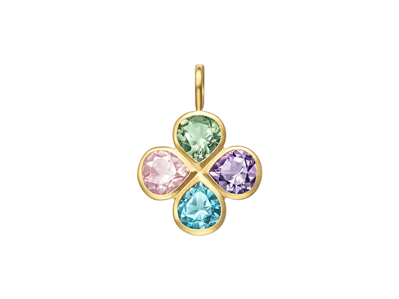 Tasaki by MHT Lucky clover pendant Top mounted on yellow gold set with amethyst, blue topaz green quartz and rose quartz