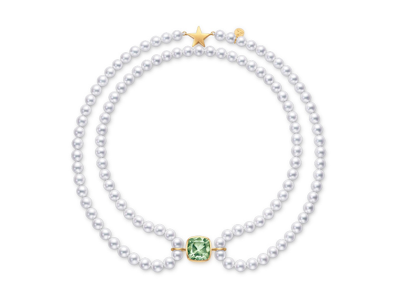 Tasaki By MHT Royal Necklace with white pearls, yellow gold and green quartz