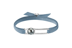 Worms Paris U Lock Me Unisex stretch bracelet Tahitian cultured pearl White gold