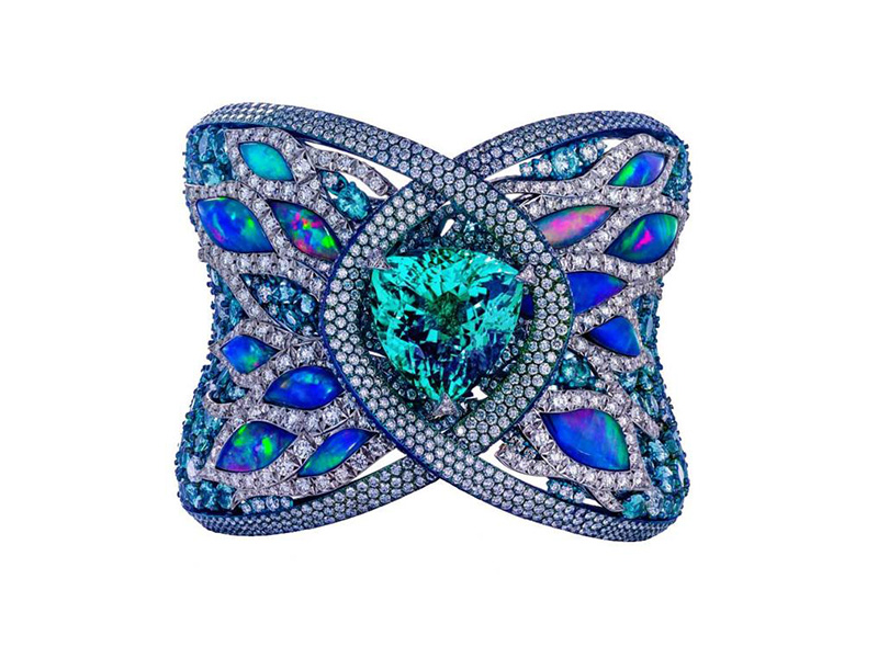 Arunashi Paraiba Tourmaline cuff Bracelet mounted on blue titanium and gold with opals and diamonds