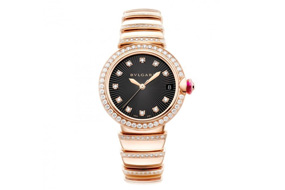 Bvlgari Lvcea watch rose gold and brilliant-cut diamond case and bracelet, with black opaline dial
