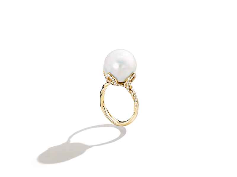 David Yurman Pearl Continuance cocktail ring in 18k yellow gold with south sea pearl and diamonds