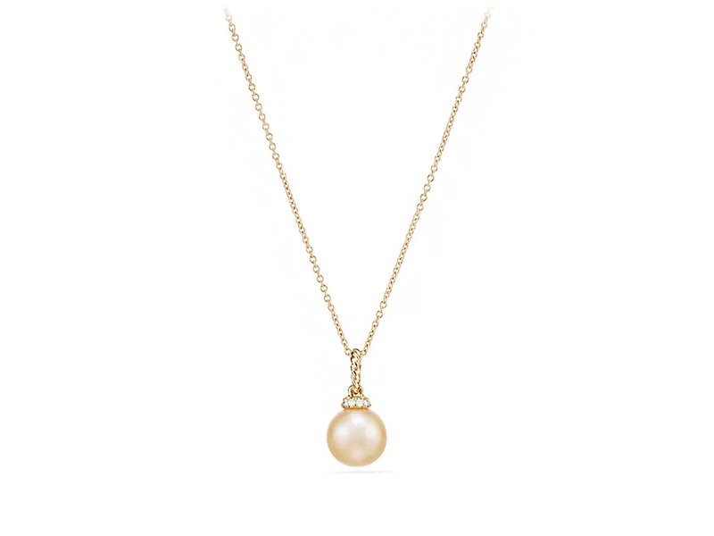 David Yurman Solari Pendant Necklace in 18k yellow gold with golden south sea pearl with diamonds