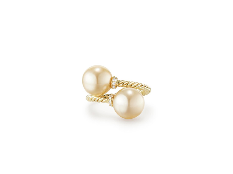 David Yurman Solari Bypass Ring in 18k yellow gold with golden south sea pearls with diammonds