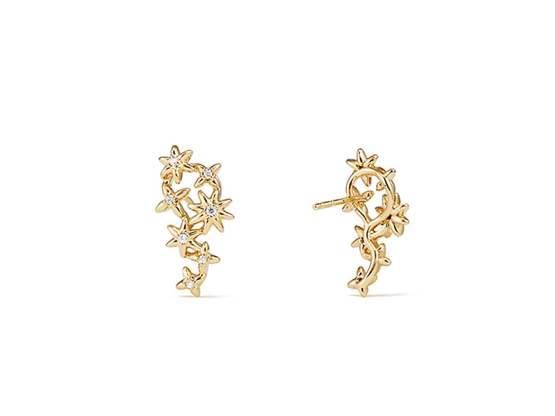 David Yurman - Starburst Constellation Climber Earrings in 18k Yellow gold with diamonds
