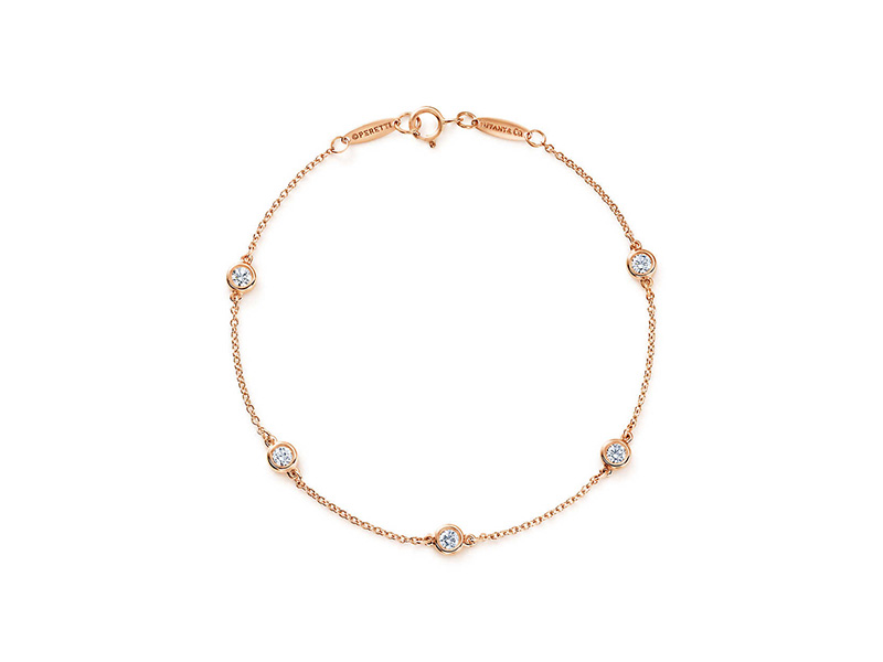 Tiffany 6 Co. Diamonds by the Yard Bracelet mounted on rose gold by Elsa Peretti