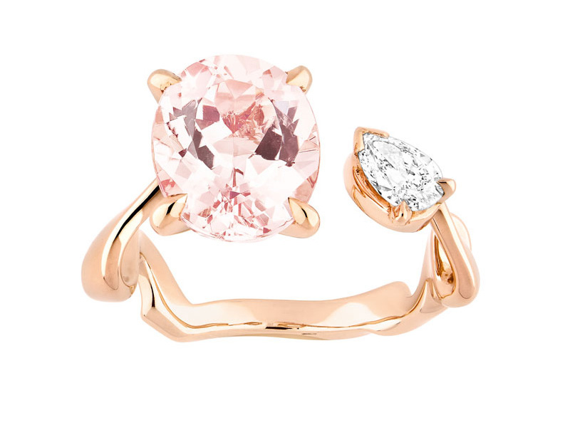 Dior Diorama Précieuse ring mounted on pink gold with diamond and morganite