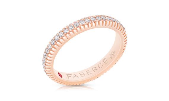 Anneau Fabergé cannelé en or rose avec diamants