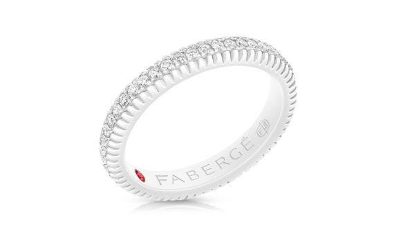 Anneau Fabergé cannelé en or blanc avec diamants