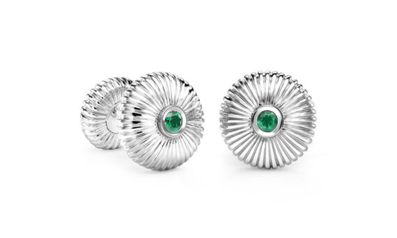 Fabergé Emerald White Gold Fluted Cufflinks