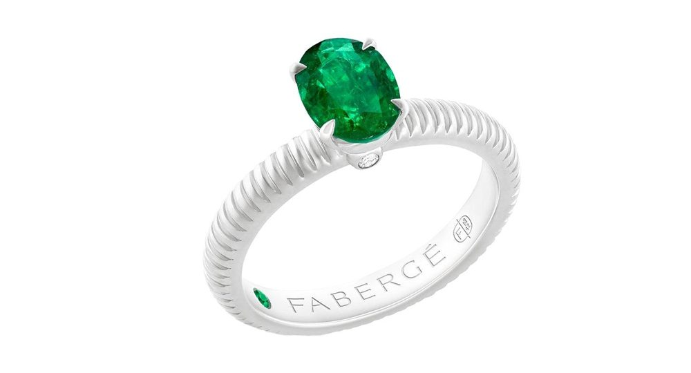 Fabergé Emerald White Gold Fluted Ring