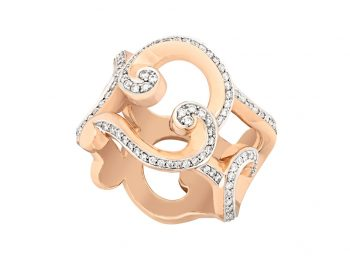 Rococo Pavé Diamond Rose Gold Ring