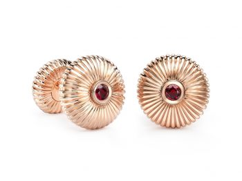 Fabergé Ruby Rose Gold Fluted Cufflinks