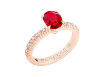 Fabergé Ruby Rose Gold Fluted Ring