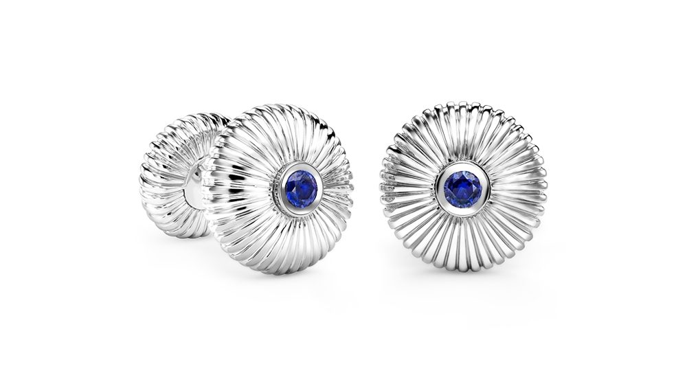 Fabergé Sapphire White Gold Fluted Cufflinks