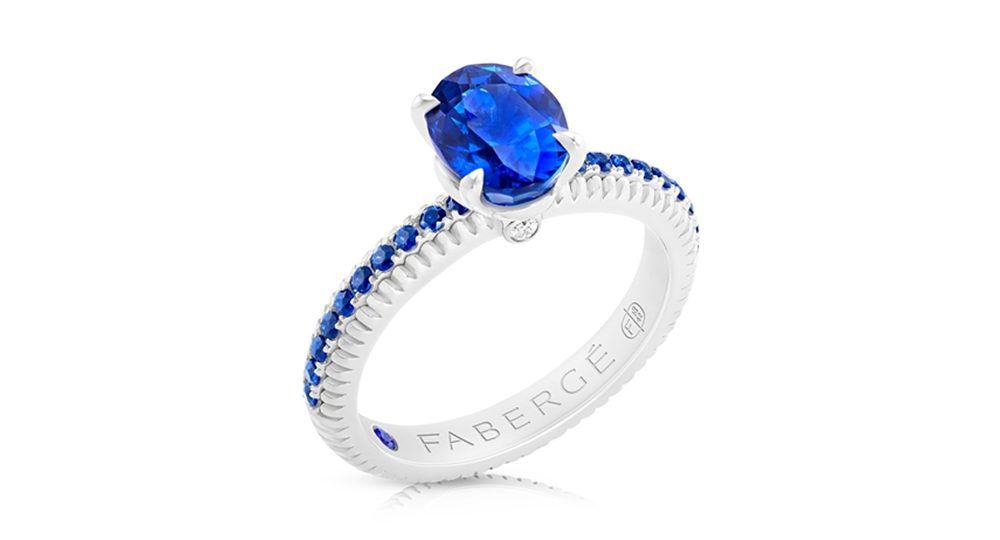 Fabergé Sapphire White Gold Fluted Ring