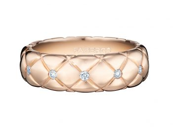 Treillage Diamond Rose Gold Thin Ring