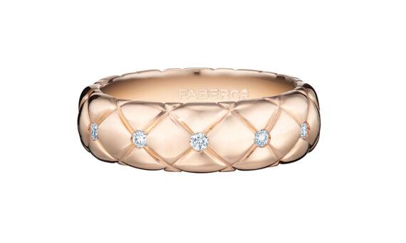 Bague fine Treillage en or rose avec diamants