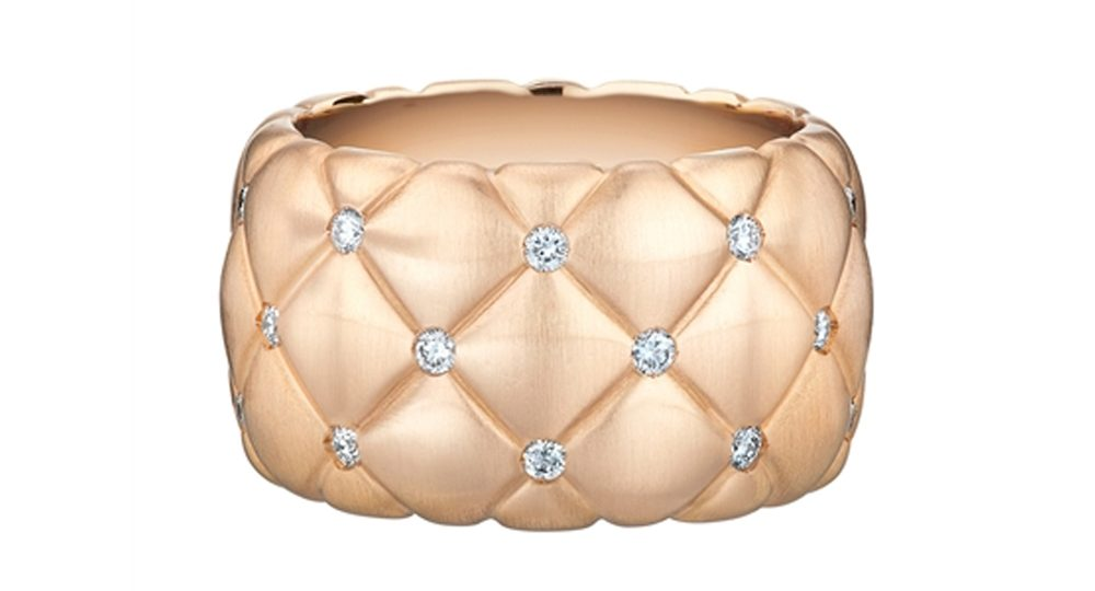 Treillage Diamond Rose Gold Wide Ring