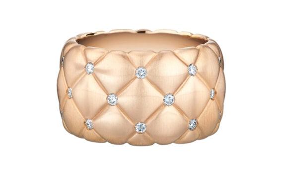 Treillage Diamond Rose Gold Wide Ring