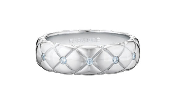 Treillage Diamond White Gold Thin Ring