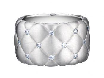 Treillage Diamond White Gold Wide Ring