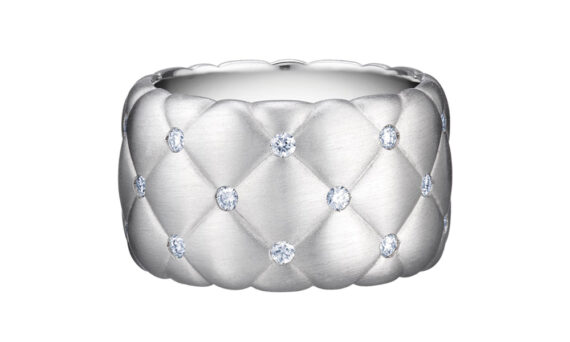 Bague large Treillage en or blanc avec diamants