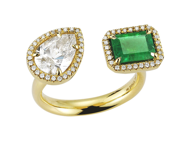 Jemma Wynne Diamond Pear and Emerald Open Ring mounted on yellow gold