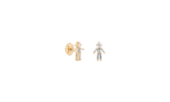 Diamonds and 18 carats gold Boy Stud earring