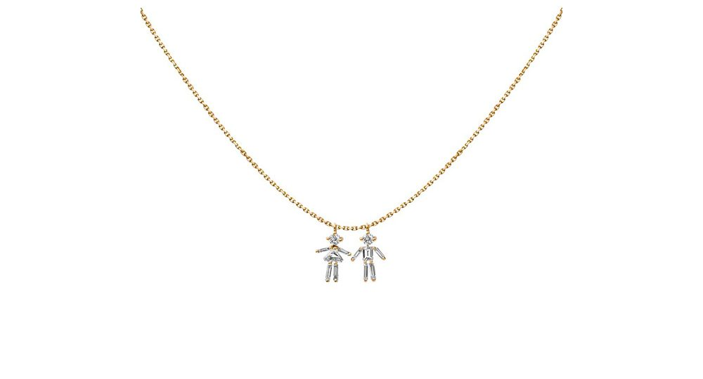 Girl and Boy double pendant necklace
