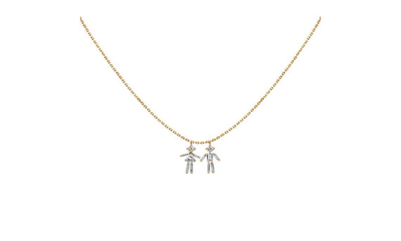 Diamonds and 18 carats gold Girl and Boy double pendant necklace