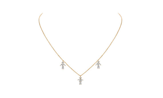Diamonds and 18 carats gold 2 Boys and 1 Girl pendant necklace