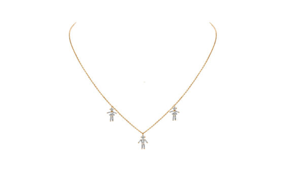 Diamonds and 18 carats gold 2 Girls and 1 Boy pendant necklace